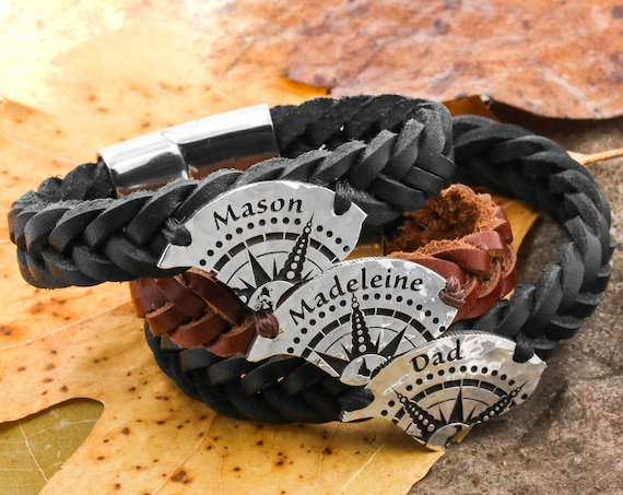 3 Piece Compass Bracelets, Custom Engraved Names, Relationship Bracelets, Couples or Friendship Leather Bracelets, His & Her, Hammered Coin