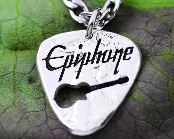 Guitar Pick Name Necklace, Slogan or Band Name, Hand Cut Coin