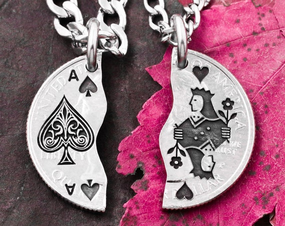 Ace of Spades and Queen Necklaces For Best Friends, BFF Jewelry, Couples Gifts, Playing Cards, Ace and Hearts, Hand Cut Coin