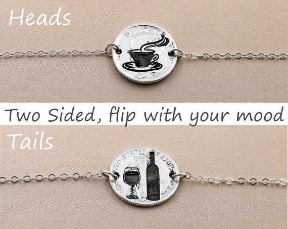 Wine and Coffee Jewelry, real silver chain, mood necklace, Silver Dime Flip Necklace,  Reverse Choker, custom chain length, Engraved
