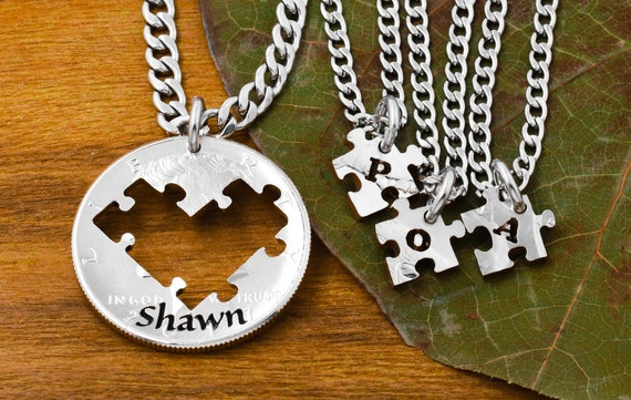 4 Puzzle Piece Necklaces with Custom Name and Initials, Fathers and Children Jewelry, Single Parent Families, Hand Cut Coin