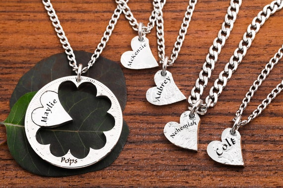 Family Hearts Necklaces, Engraved Custom Names, Center Piece Holds Heart, Family Jewelry, Hand Cut Coin