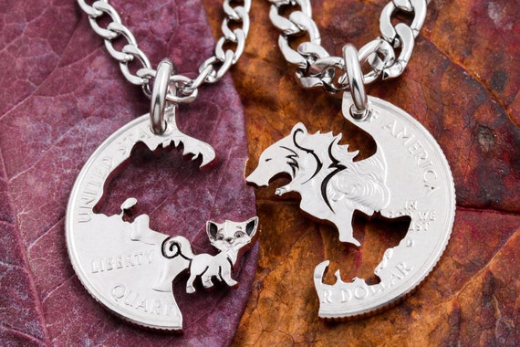 Bear and Kitty Best Friends Jewelry, Relationship Interlocking Necklaces, Interlocking Puzzle set, Made from a Hand Cut Coin