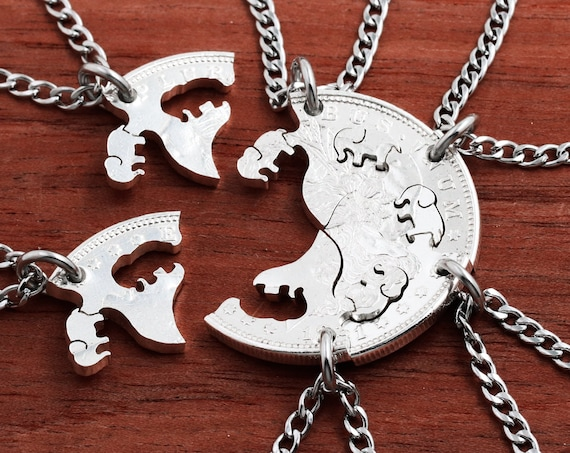 Six Best Friends Interlocking Silver Elephant Necklaces, Bridesmaid Gifts, 6 BFF, Family Jewelry, Hand Cut Silver Dollar
