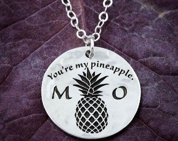 Silver Pineapple Necklace, 'You're My Pineapple', Custom Initials, Small Silver Necklace, Dainty Charm, Cute Charm, Hammered Silver Coin