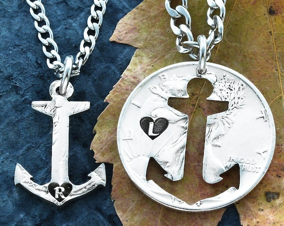 Anchors Family Necklaces, Custom Initials, Best friends necklace, BFF or Couples Gift, Relationship set hand cut coin