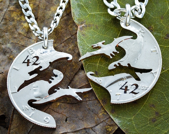 Pterodactyl Best Friends Gift Necklaces for 2, BFF Split Set, Pterosaur Flying Dinosaur Family, Engraved Anniversary