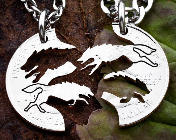 Wolf Necklace, Running Wolves Jewelry, BFF Gifts, Best Friends Forever Necklaces, Interlocking Puzzle set, Hand Cut Quarter