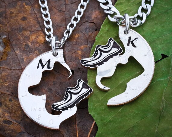 Runner Best Friends Necklaces, Running Shoes Initials Gift, Couples and Relationship, Marathon and Track, Hand Cut Coin