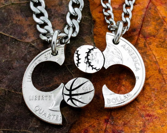 Baseball and Basketball Couples and Best Friends Necklaces, Softball Gift, Boyfriend and Girlfriend Jewelry, BFF and Friendship