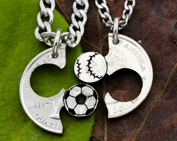 Soccer and Baseball Couples and Best Friends Necklaces, Softball Gift, Boyfriend and Girlfriend Jewelry, BFF and Friendship