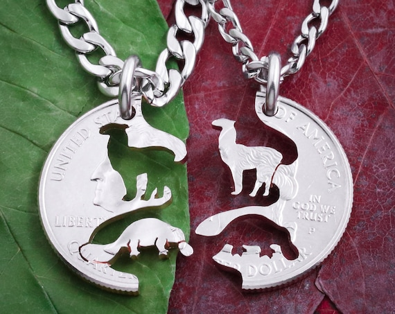 Platypus and Llama Best Friends Necklaces, BFF Gift, Friendship Jewelry, Personalized Hand Cut Coin