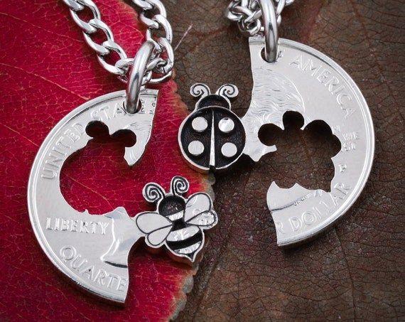 Lady Bug and BumbleBee Best Friends Necklaces, Bumble Bee Jewelry, Bff Gifts, Friendship and Relationships