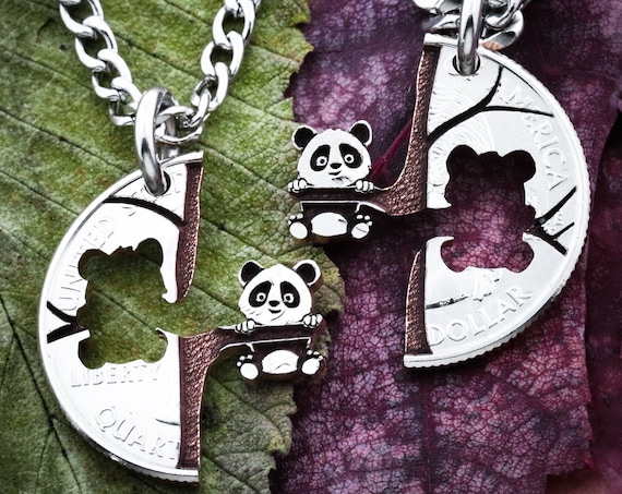 Panda Relationship Necklaces, Pandas in Tree, Couples Gift, Best Friend Gift, BFF, Animal Jewelry, Cut Coin