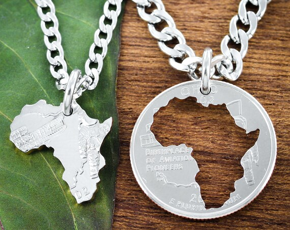 Africa Continent Split Necklaces, Cut on a US State Quarter, Best Friends and Couples Jewelry, Refugee and Immigrant Gift, Hand Cut Coin