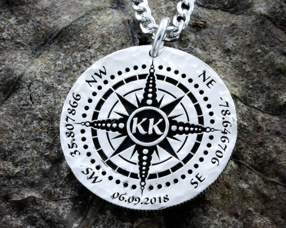 Silver Compass necklace, Engraved into a Hammered Silver Coin, with a date, GPS coordinates, and initials