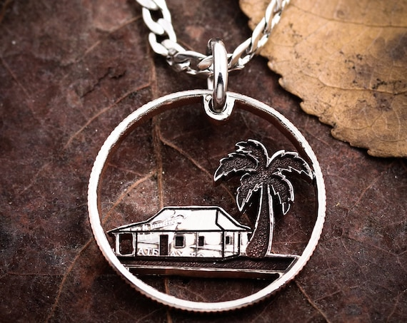 Beach House Necklace, Engraved Palm Tree Jewelry, Hand Cut Quarter