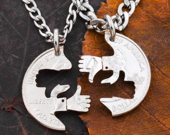Thumbs Up Thumbs Down BFF Necklaces, Optimist Pessimist Friendship, Mood Jewelry, Best Friends Forever, Interlocking Puzzle Hand Cut Coin