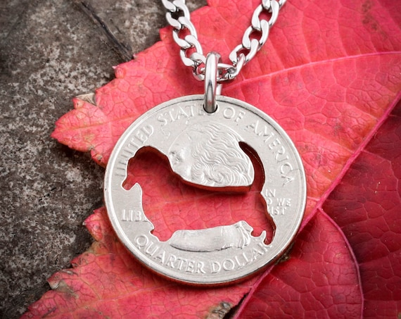Basset hound Necklace, dog jewelry, hand cut coin