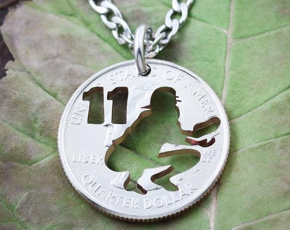 Personalized Baseball or Softball Catcher Necklace, Custom Jersey Number, Athlete's Gift, Summer Season, Man or Woman, Hand Cut Coin
