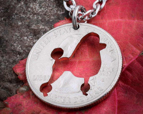Poodle Necklace, dog jewelry, hand cut coin
