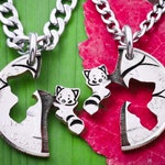 Red Panda Relationship Necklaces, Pandas in Tree, Couples Gift, Best Friend Gift, BFF, Animal Jewelry, Cut Coin