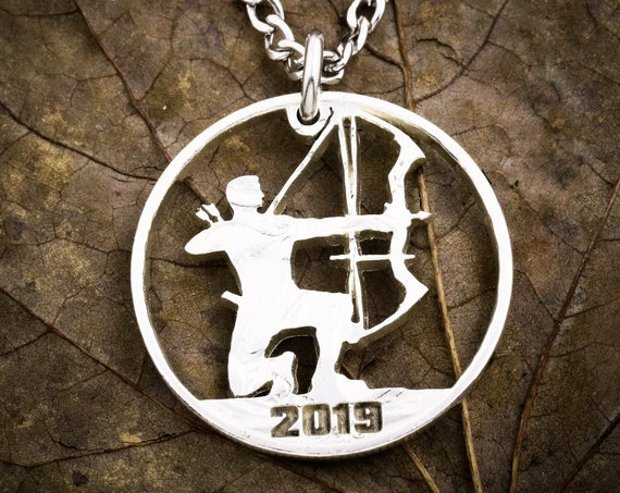 Archer Necklace, Hunting Jewelry, Compound Bow and Arrow Necklace, custom date, Personalized Engraving, Gifts for Men, Hand Cut Half Dollar