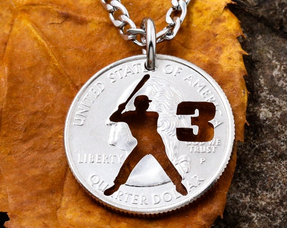 Personalized Baseball or Softball Batter Necklace, Custom Jersey Number, Summer Season, Man or Woman, Hand Cut Coin