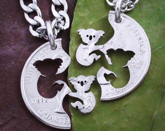 Koala Bear Necklaces, BFF or Couples Necklaces, Bear Jewelry, Best Friend Gifts, Interlocking Couples Necklaces, Hand Cut Coin