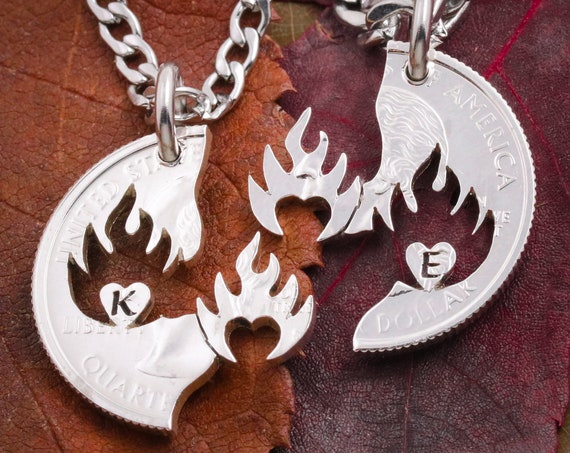 Initial Couples Necklaces, Hearts on Fire, Your Heart is mine, My Heart is yours, Personalized Jewelry, Hand Cut Coin