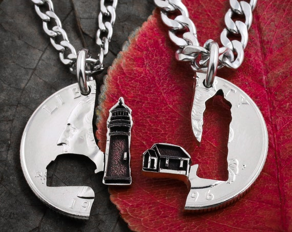 Lighthouse Couples and Friendship Necklaces, 2 Pieces that fit together, Hand Cut Coin