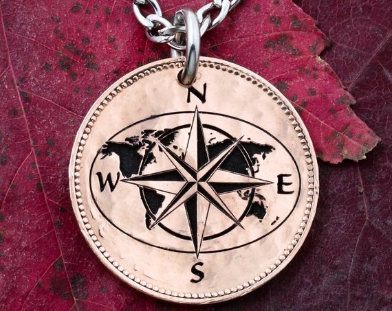 Globe and Map Coin Necklace, Compass Jewelry, with Coordinates, Engraved on an English Half Penny