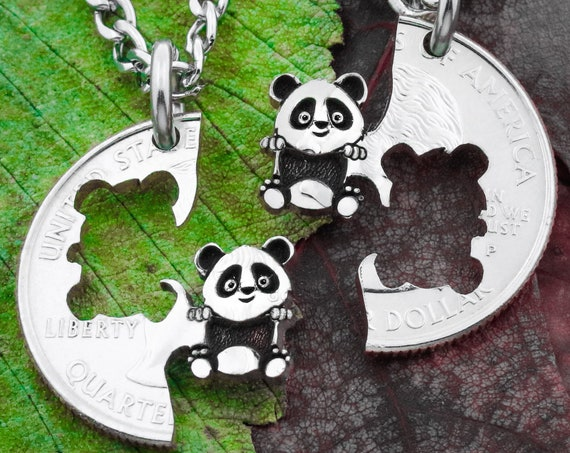 Cute Panda Best Friends Split Necklaces, Friendship Gifts, Panda Bear Interlocking Relationship Necklaces, Hand Cut Coin