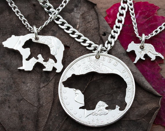 Daddy Bear, Momma Bear and Baby Bear Necklaces, Bear Family Silver Necklaces, 3 Family Jewelry, Three Fits Together, Hand Cut Silver Dollar