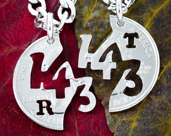 143, I Love You Necklace, Personalized Initials, Couples Jewelry Necklaces, Hand Cut Coin