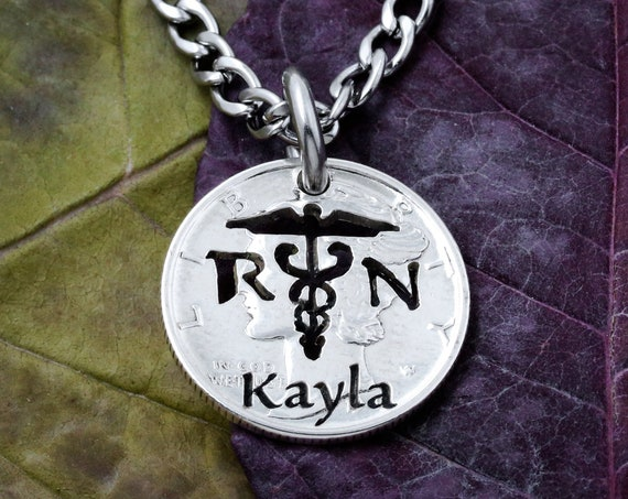 Nurse Necklace, RN Jewelry, engraved name on a coin, Handcrafted cut coin