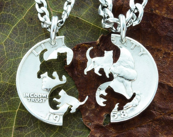 Cat and Kitten Friendship Necklaces, Pet Jewelry, BFF necklaces, hand cut coin