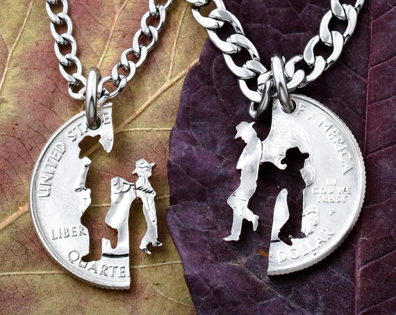 Cowgirl Jewelry, Father and Daughter necklaces, Western Family Gifts, Matching set, Gifts for daughter, hand cut coin
