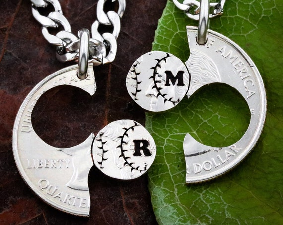 Baseball Couples and Best Friends Necklaces, With Custom Initials, Softball Gift, Boyfriend and Girlfriend Jewelry, BFF and Friendship