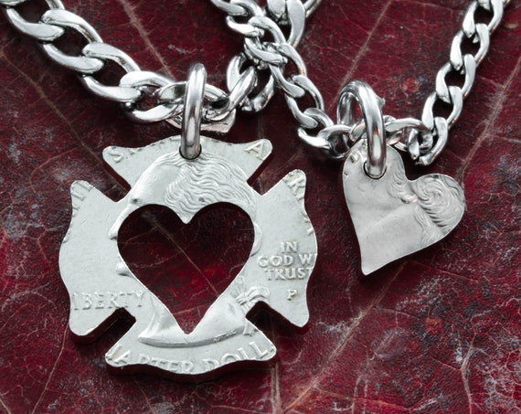 Firefighter Couples Necklace, Inside out, heart necklace, His and hers, Father and Daughter, man and wife, boyfriend, girlfriend,