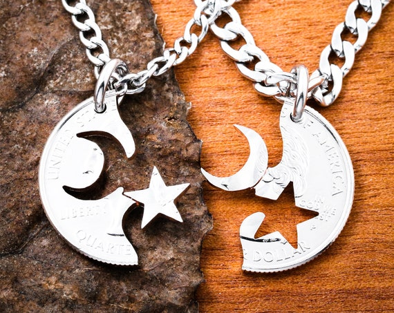 Moon Star BFF necklaces, Astronomy Couples Jewelry Necklaces, Astronomical Long Distance hand cut coin