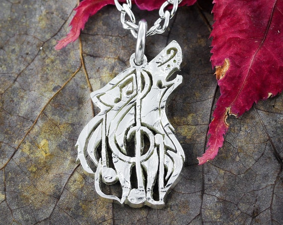 Wolf Music Note Necklace, wolf jewelry, animal lover, music lover, hand cut coin