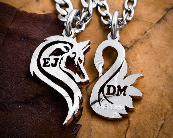 Wolf and Swan Couples Necklaces, Custom Initials, Making a Heart, Relationship Jewelry, Couples Gifts, Half Dollar, hand cut coin