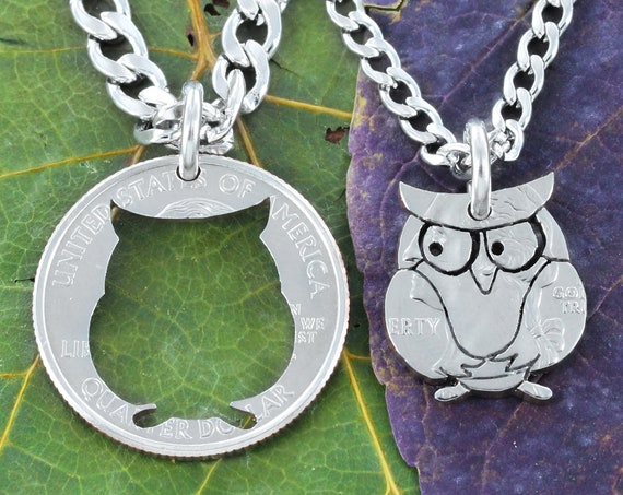 Owl BFF Necklaces, Hoot or Barn Owl Best friends Gifts, Hand Cut Quarter