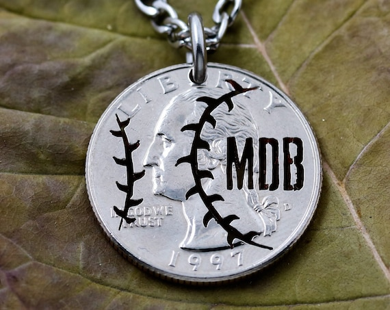 Personalized Baseball Necklace, Custom Initials, Summer Season, Hand Cut Coin