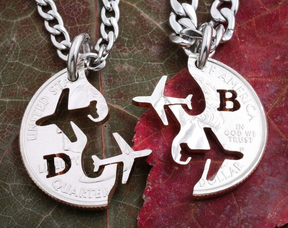 Pilot Grad Gift, Airplane Necklaces for 2, Couples or friendship Jewelry, Best Friends Initials Gift, BFF, Interlocking cut coin.
