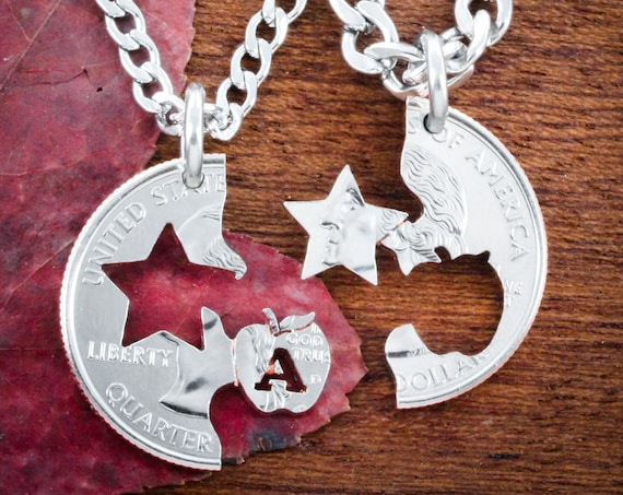 Teacher and Sheriff Couples Necklaces, Law Enforcement Badge and Education Professionals Gift Cut Coin