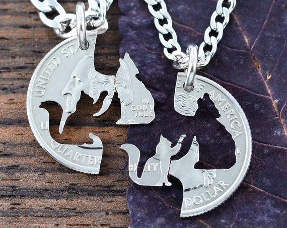 Cat and Wolf Best Friends Necklaces, Kitty Wolfie BFF Gifts, Interlocking like a puzzle, Pet hand cut coin