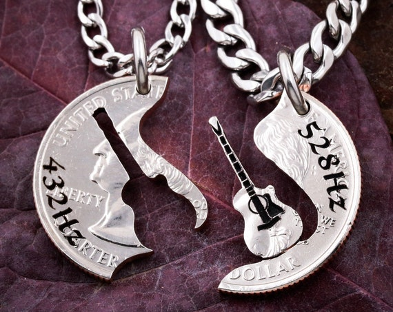 Guitar Best friend Necklaces, Engraved Tuned Guitar, Love Frequency, BFF Gifts Band Friendship Jewelry, Musical, Hand Cut Coin