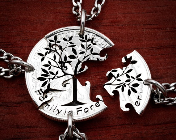 Family Tree Pendants, 4 Piece Friends and Family Necklace, Forever and Always, hand cut coin